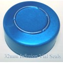 32mm Center Tear Infusion Vial Seals, Blue, pk of 100