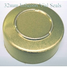 32mm Center Tear Infusion Vial Seals, Gold, pk of 100