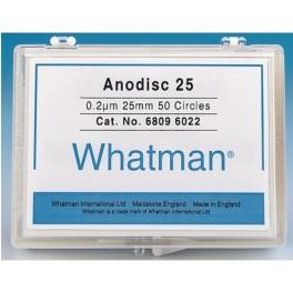 Whatman Anodisc Filters, 0.2um, 25mm diameter, pk 50