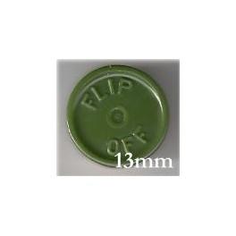 13mm Flip Off Vial Seals, Avocado Green, Bag 1000