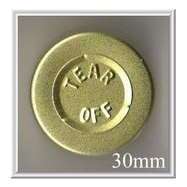 30mm Center Tear Vial Seal, Gold, Pk 250