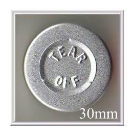 30mm Center Tear Vial Seal, Silver, Pk 250