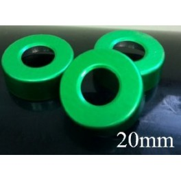 20mm Hole Punched Vial Seals, Green, Bag 1000