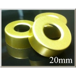 20mm Hole Punched Vial Seals, Gold, Bag 1000
