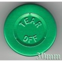 30mm Center Tear Vial Seal, Green, Pk 250