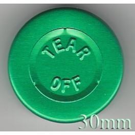 30mm Center Tear Vial Seal, Green, Pk 250